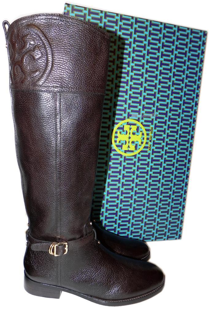 e4febd38568b4 2989. 2989. Previous. Tory Burch Tumble Coconut Leather Riding Boot Flat  Equestrian Bootie 6.5 Logo