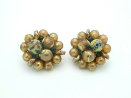 Japan Gold Blue Art Glass Bead Beaded Clip-On Earrings Vintage Gold Tone - $13.86