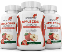 3X NATURAL APPLE CIDER VINEGAR 3000mg RAPID FAST WEIGHT LOSS 180 CAPS VE... - $33.87