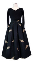 Black Winter Wool A Line Pleated Skirt High Waist Midi Skirt with Wing P... - $69.99