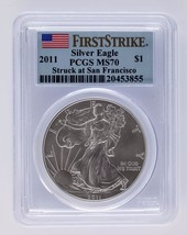 2011 Silver 1oz American Eagle $1 First Strike PCGS Graded MS 70 - $98.00