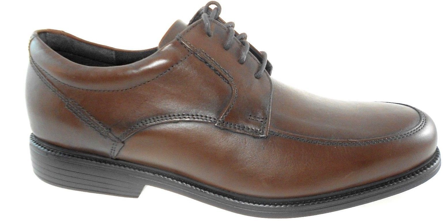 d9c57ebd33ca2 ROCKPORT CH1271 CHARLESROAD APRON TOE MEN'S BROWN LEATHER OXFORD sz 10
