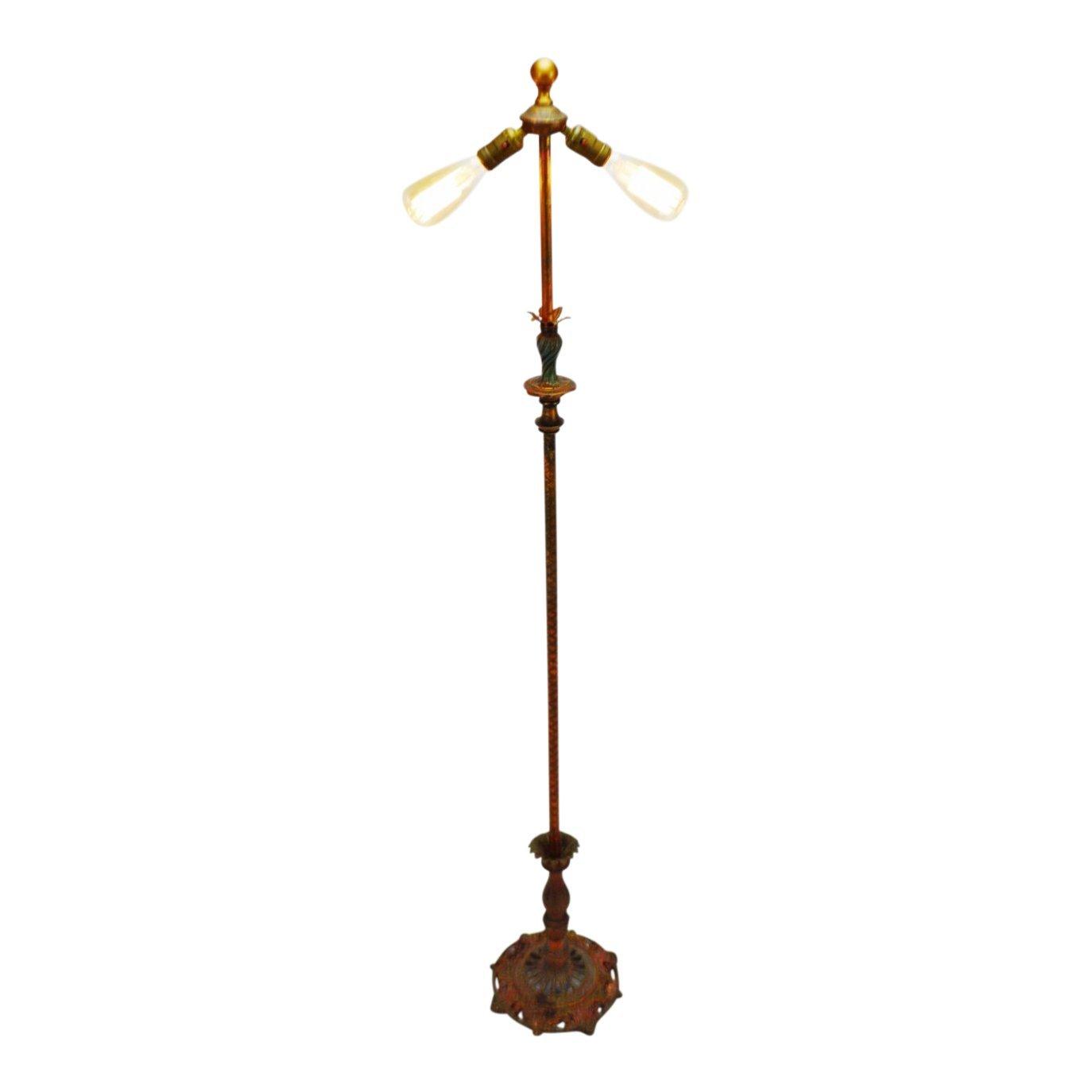 Vintage Art Deco Metal Floor Lamp with Dual Fixture