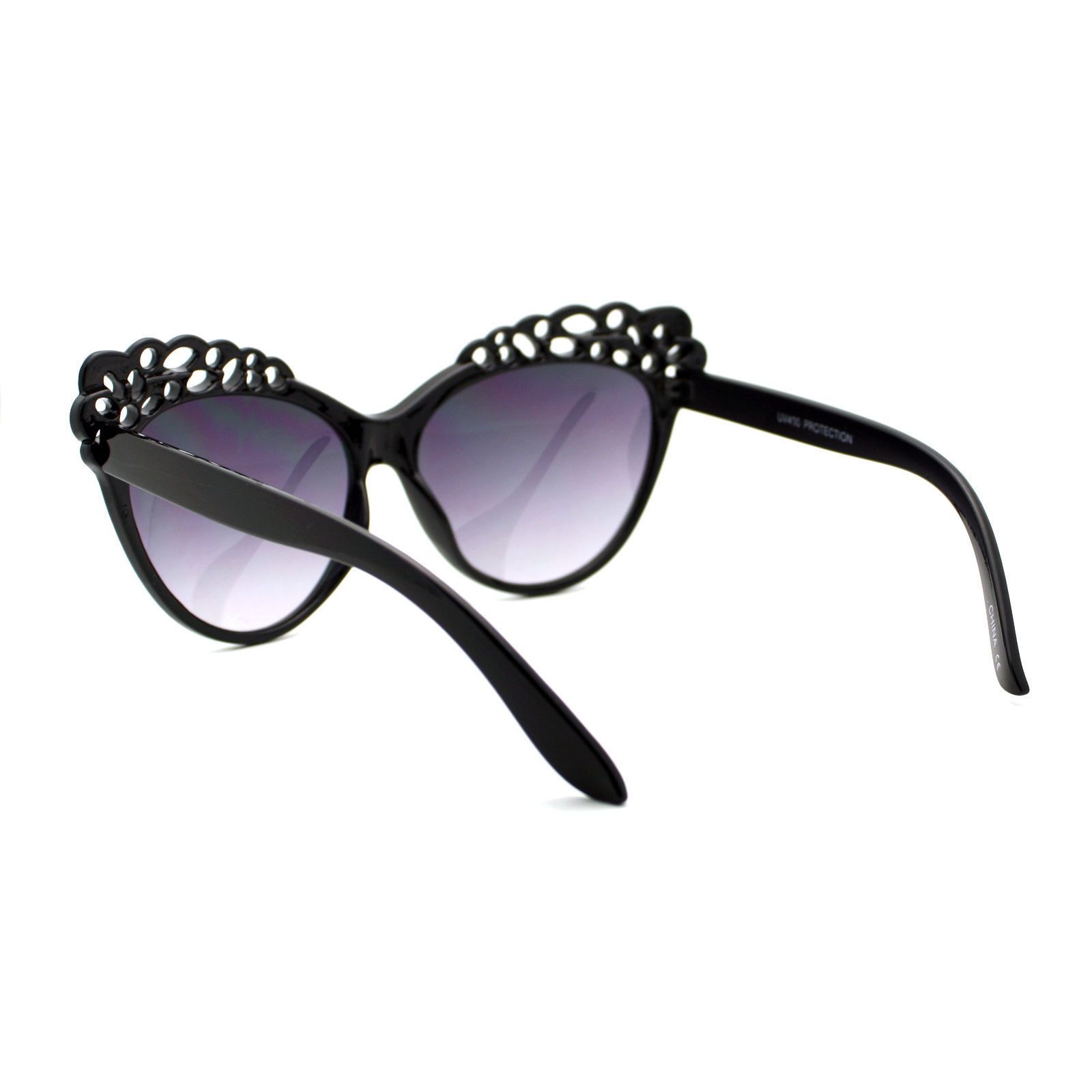 Womens Oversized Cateye Sunglasses Cute Floral Cutout Fashion Top