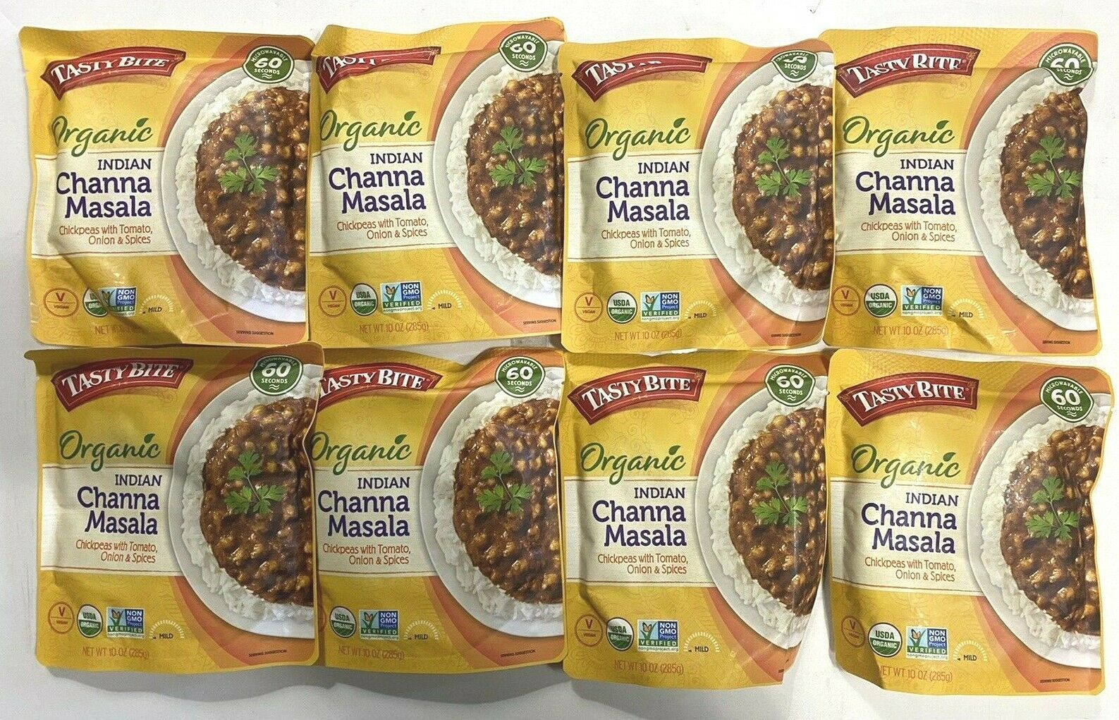 Lot of 8 Pouches Tasty Bite Indien Channa Masala Chickpeas w Tomato Onion Spices