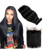 FQ Peruvian Straight Hair 3 Bundles with Frontal Closure20 22 24+18 fron... - $142.79