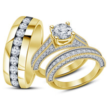 14k Yellow Gold Finish 925 Sterling Silver His Her Wedding Diamond Trio ... - $152.99