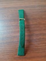 vintage 14 MM green suede gold buckle Conjam watch strap - $9.90