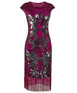 Vijiv Vintage 1920s Prom Sequin Beaded Art Deco Embellished Fringe Flapp... - $24.95