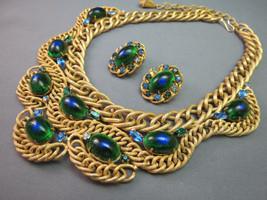 VTG Brania Bib Necklace Mimi Di N Collar Parue Blue Rhinestones Peacock ... - $593.99