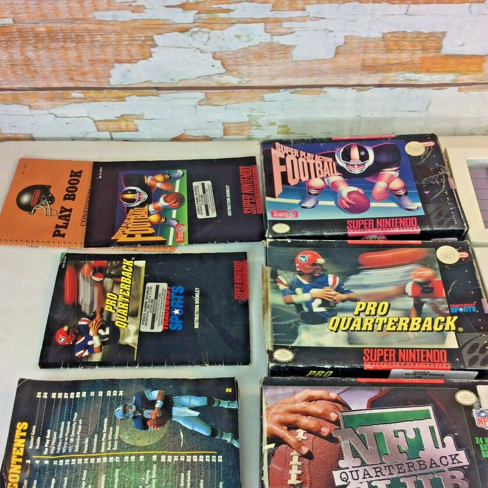 SNES Game Lot NFL Quarterback Club Monday Night Football Super Play Action Boxes image 2