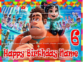 Wreck It Ralph Breaks The Internet : Personalized Edible Image Cake Topper - $9.78