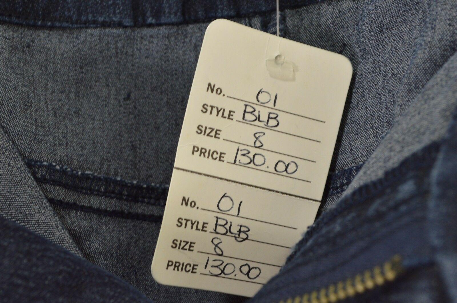 Barbara Lesser Jeans 8 x 32.5 dark Fibers jeans wide leg slight flare stretch