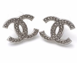 AUTH  CHANEL CLASSIC  LARGE CRYSTAL CC LOGO RHINESTONE EARRINGS SILVER