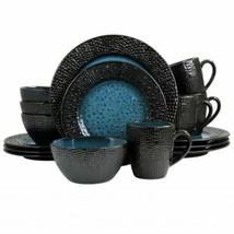 Elama Estevan 16 Piece Round Textured Stoneware Dinnerware Set in Charco... - $91.03