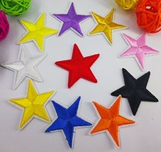 Lot of 10 multi-color small stars Embroidered Patch for Clothing Star si... - $7.87