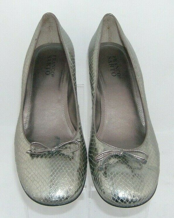 Franco 'Ema' silver leather snake print round toe bow slip on pump heels 10M