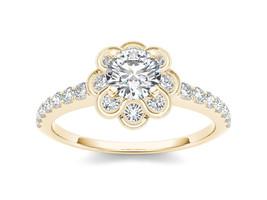 IGI Certified 14K Yellow Gold 1.20 Ct Diamond Flower Shaped Halo Engagem... - $2,349.99