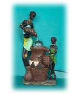 Primitive Design African Women Pouring Wall Fountain with Crystal Ball - $88.42