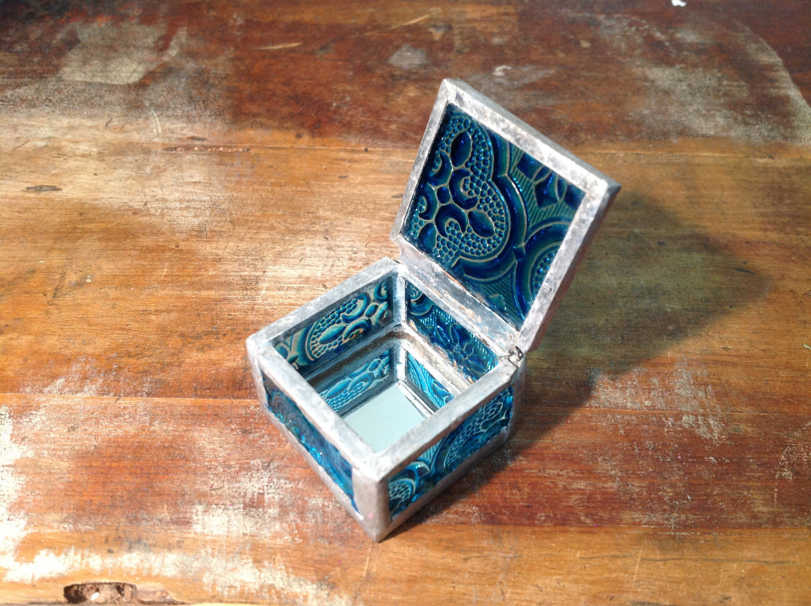 Teal Embossed Glass Ring Box Mirrored Bottom Paisley Designed Glass Handmade