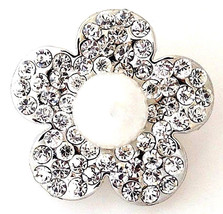 Silver Rhinestone White Pearl 20mm Snap Interchangeable Jewelry For Ginger Snaps - $6.19
