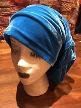 Vintage Style Blue Velvet Slouch Turban Hat - $27.71