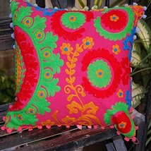 16x16'' Handmade Suzani Cushion Cover Throw Indian Decorative Cotton Pil... - $18.49