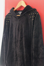 NWT Juicy Couture Black Velour Nailhead Hoodie Gold Signature Jacket M $128 - $64.00