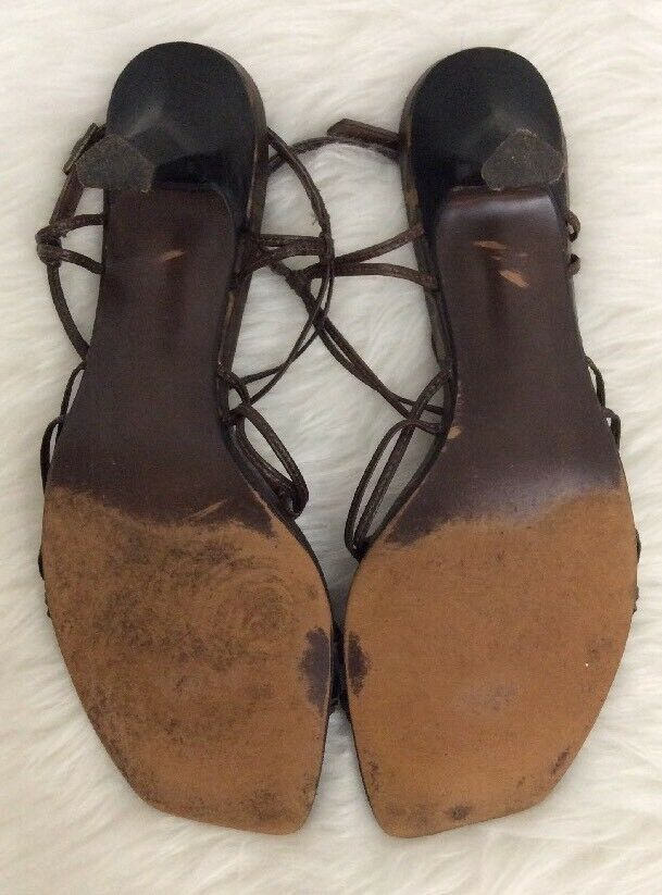 CARLOS BY CARLOS SANTANA BROWN MAMBO SZ 9LEATHER STRAPPY SANDALS