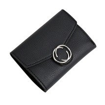 Kukoo Mini Trifold Leather Wallet Fashion Button Ring Clutch Card Holder Coin Pu - $17.17
