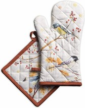 Oven Mitt Fabric Birds Oak Tree Oven Potholder Colorful Quilted Cotton M... - $39.00