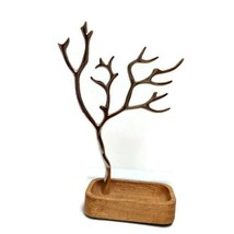 Jewelry Tree And Wood Tray Trinket Holder Silver 12 Inches Tall - $14.60