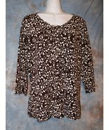 Womens Brown Print Christopher & Banks 3/4 Sleeve Shirt Size Large excel... - $7.91