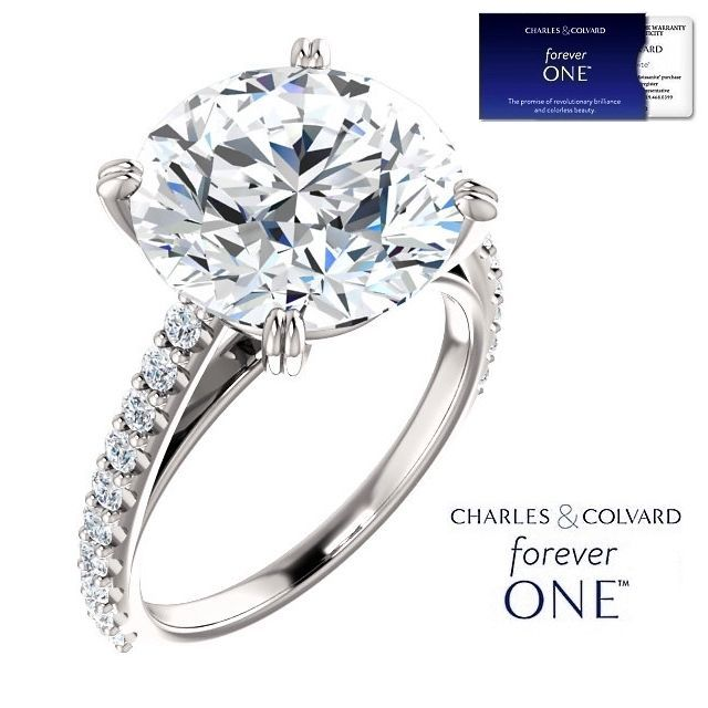 6.50 Carat Moissanite (ForeverOne) and Diamond Ring 14K Gold (Charles & Colvard)