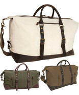 Canvas & Leather Weekender Travel Bag Duffel Fashion 3 Day Tote Carry On - $61.99