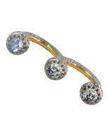Moonstone Pave Diamond Gold Double Two Finger Ring 925 Sterling Silver J... - $364.65
