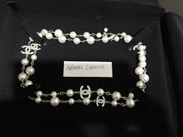 Authentic Chanel Classic 5 Crystal CC Logo Long Beaded Faux Pearl Necklace MINT image 1