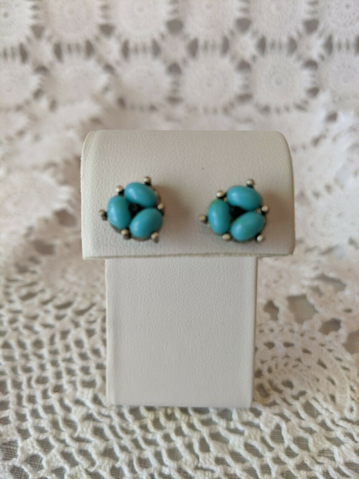 Primary image for Ladies Silver Tone Turquoise Stone Pierced Stud Earrings