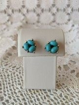 Ladies Silver Tone Turquoise Stone Pierced Stud Earrings - $2.90