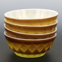 "Fire-King Set oh 4 5"" Kimberly Yellow Bowls"