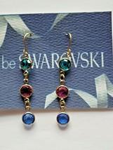 Vintage Swarovski Elements 10K Gold Plated Dangle Earrings Multi Colors ... - $12.00