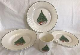 NOEL SALEM PORCELLE X-MAS CHRISTMAS TREE 4pc Set Dinner & Salad Plates B... - $19.79