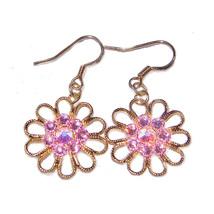 "3/4"" Daisy Filigree/Pink Crystal 10k Gold Drop Earrings - $12.99"