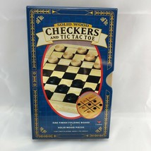 Solid Wood Checkers & TicTacToe in Metal Box travel camping game children new - $20.75