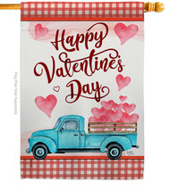 Valentines Truck - Impressions Decorative House Flag H101069-BO - $36.97