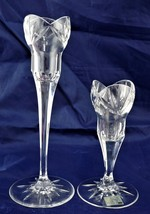 "Candle Holder Set of 2 Mikasa Crystal 9"" & 6"" Tulip - $9.52"