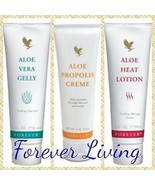 {Forever Living} Aloe Vera Gelly / Aloe Propolis Creme / Heat Lotion Gre... - $60.85