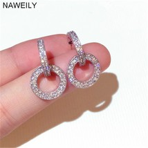 Fashion Crystal Circle Earrings For Women Silver Post Earring Fine Gift ... - $13.59