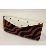 Tiger Black Brown Safari Animal Print Business Card Holder Ceramic Desk ... - $24.00
