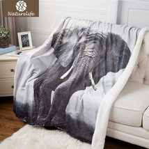 Sherpa Double Layer Blanket 3D Printing Elephant Pattern Thicken Throw B... - $57.02